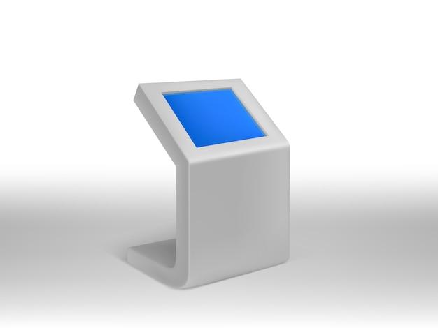 Kiosque D'information Numérique Réaliste 3d, Affichage Numérique Interactif Avec écran Blanc Bleu. Vecteur gratuit