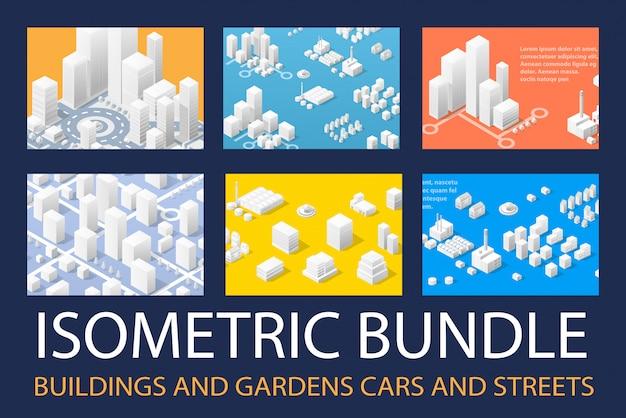 Kit 3d isométrique pour le design Vecteur Premium