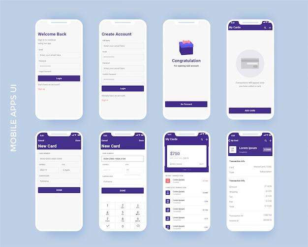 Kit D'application Mobile Finance Vecteur Premium
