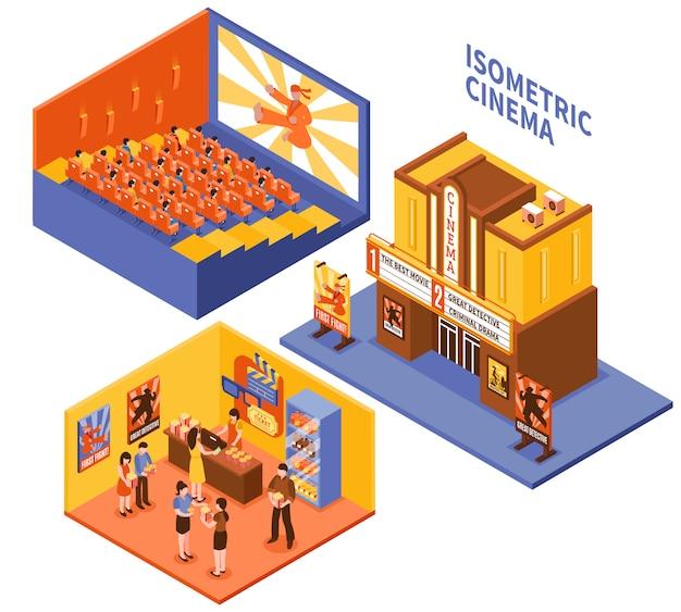 Kit de compositions isométriques de cinéma Vecteur gratuit
