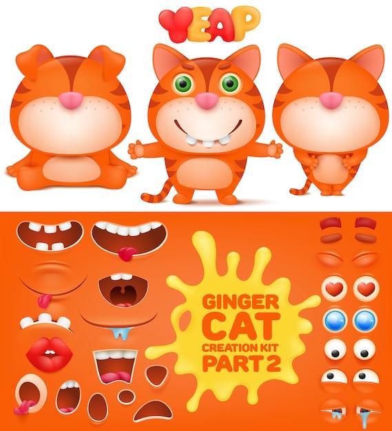 Kit de création d'un chat drôle d'émoticône au gingembre. Vecteur Premium