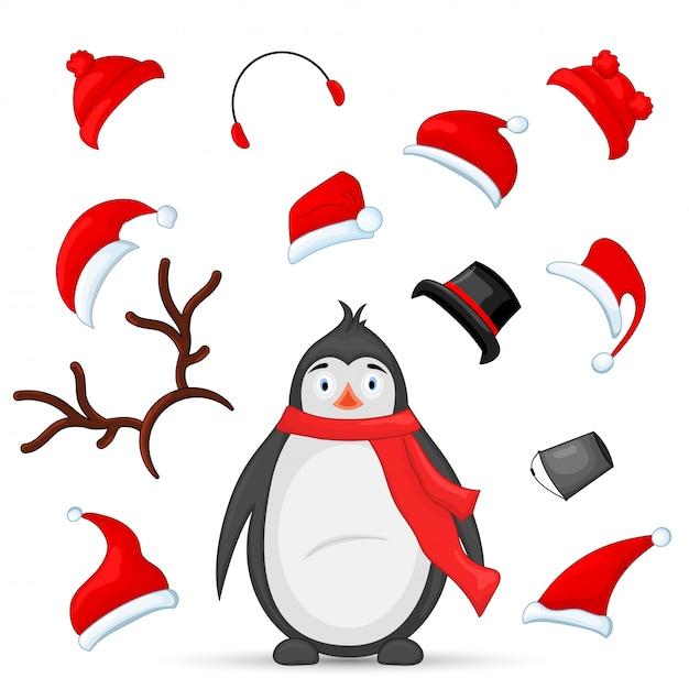 Kit de création mascotte de pingouin et de chapeaux pour l'animal. constructeur de vecteur avec sélection Vecteur Premium