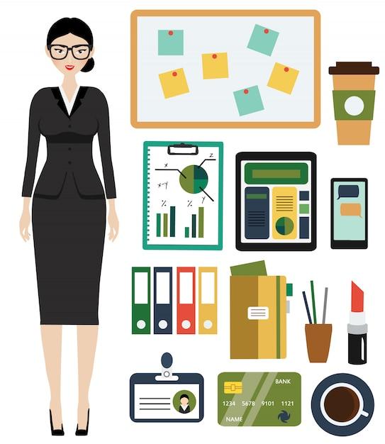 Kit de femme d'affaires. Vecteur Premium