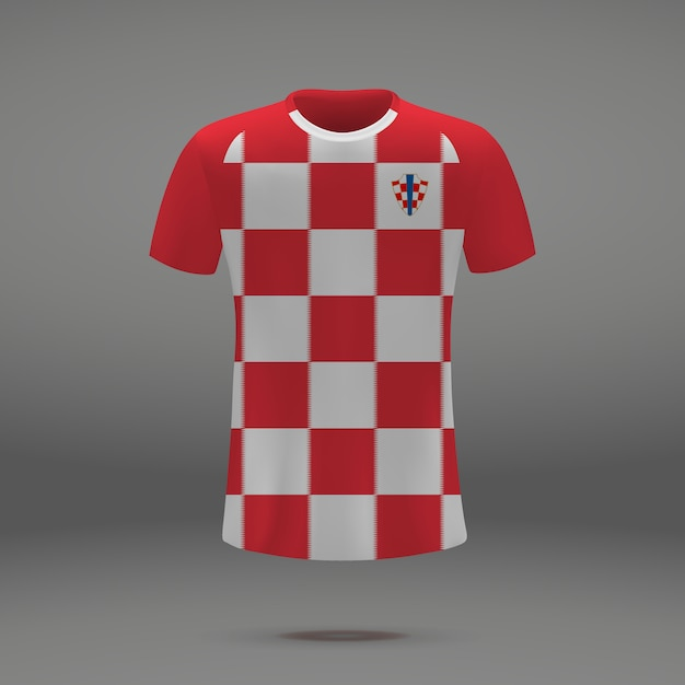 Kit de football de la croatie, modèle de tshirt pour le maillot de football Vecteur Premium