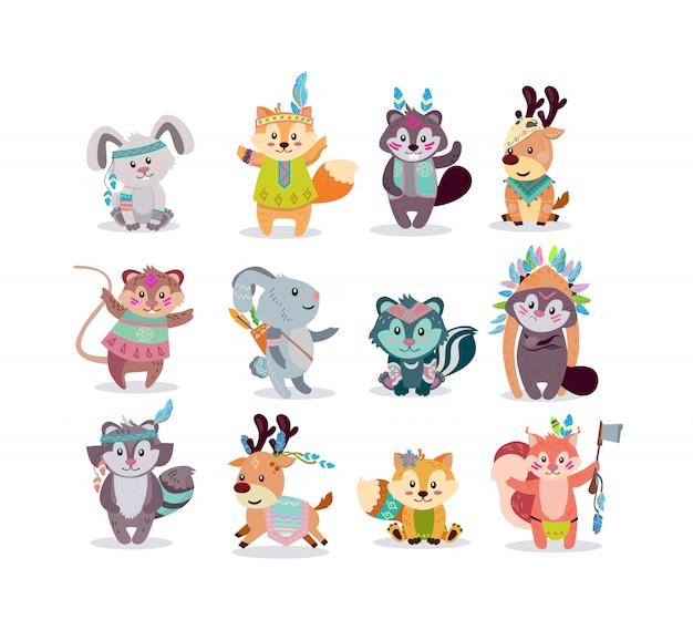 Kit D'icônes De Personnages Boho Woodland Vecteur gratuit