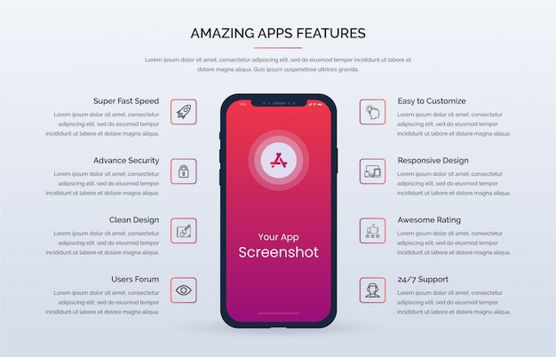 Kit D'interface Utilisateur De Modèle Premium De Fonctionnalité Web D'application Mobile Vecteur Premium