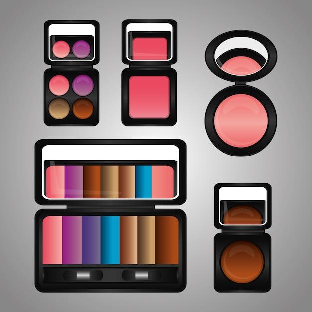 Kit de maquillage de cosmétiques fard à paupières miroir de fard à joues Vecteur Premium