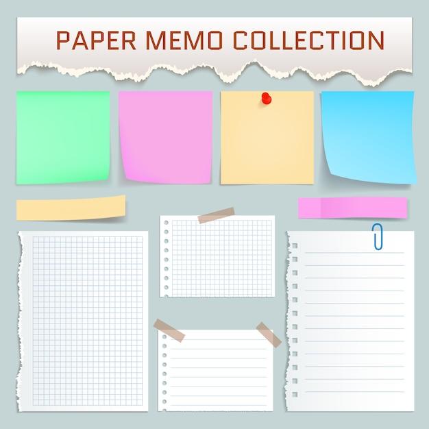 Kit de mémo papier. illustration réaliste de 10 maquettes de mémo en papier pour le web Vecteur Premium