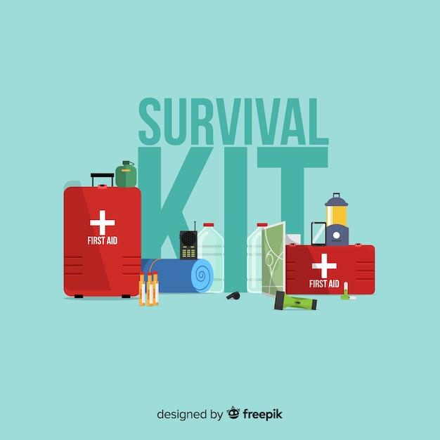 Kit De Survie Plat D'urgence Vecteur gratuit