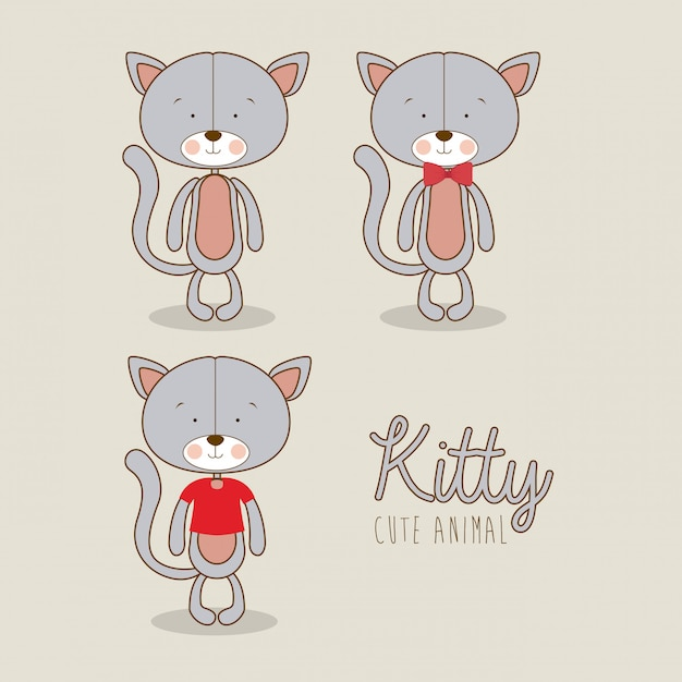 Kitties design Vecteur Premium