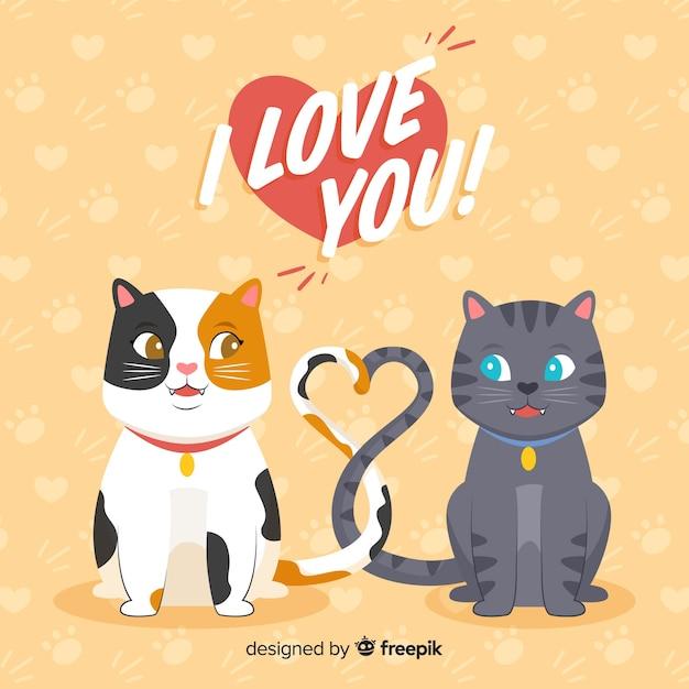 Kitties Mignons Faisant Un Coeur Avec Leurs Queues Vecteur gratuit