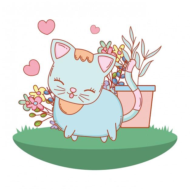 Kitty cat cartoon en plein air Vecteur Premium