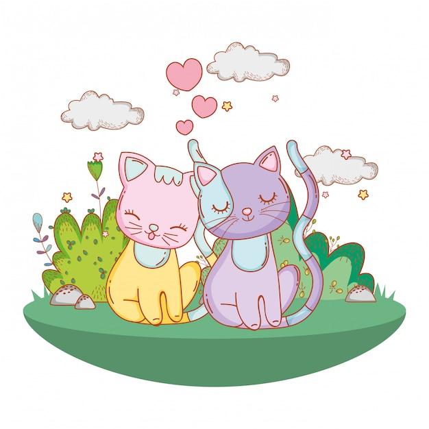 Kitty cats in love cartoon extérieur Vecteur Premium