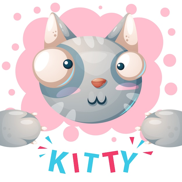 Kitty mignon, personnages de chat - illustration de dessin animé Vecteur Premium
