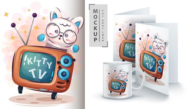 Kitty tv poster et merchandising Vecteur Premium