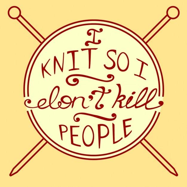 Knitting citation inspirée vector illustration Vecteur gratuit