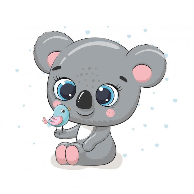 Koala Bébé Mignon Avec Oiseau. Illustration Pour Baby Shower, Carte De Voeux, Invitation à Une Fête, Impression De T-shirt De Vêtements De Mode. Vecteur Premium