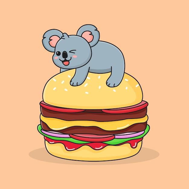 Koala Burger Drôle Vecteur Premium