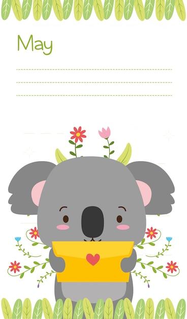 Koala avec carte d'amour, animaux mignons, style plat et cartoon, illustration Vecteur gratuit