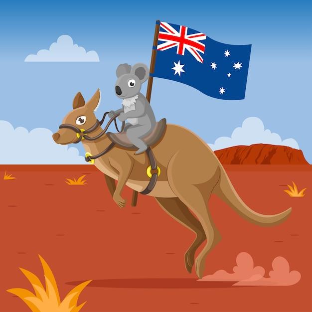 Koala Et Kangourou Portant Le Drapeau Australien Vecteur Premium
