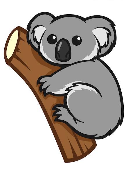 Koala mignon sur un arbre Vecteur Premium