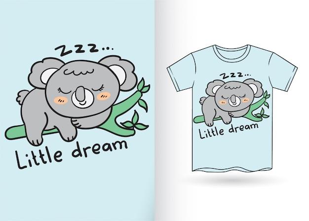 Koala mignon dessiné à la main pour t-shirt Vecteur Premium