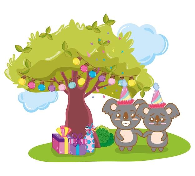 Koalas joyeux anniversaire Vecteur Premium