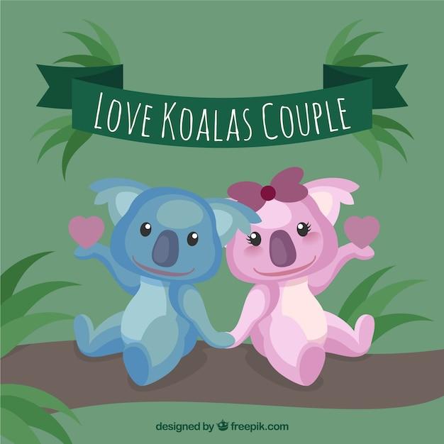 Koalas loving couple Vecteur gratuit