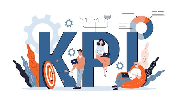 Kpi Ou Concept D'indicateur De Performance Clé. Idée D'examen Et D'évaluation Des Données. Illustration Vecteur Premium