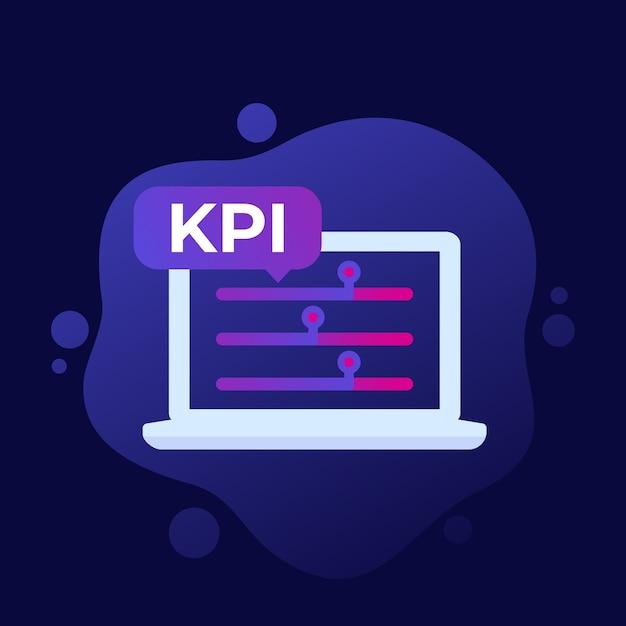 Kpi, Icône D'indicateur D'entreprise Vecteur Premium