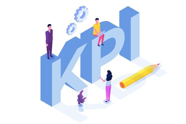 Kpi, Indicateur De Performance Clé, Concept Isométrique De Conseil Aux Entreprises. Vecteur Premium