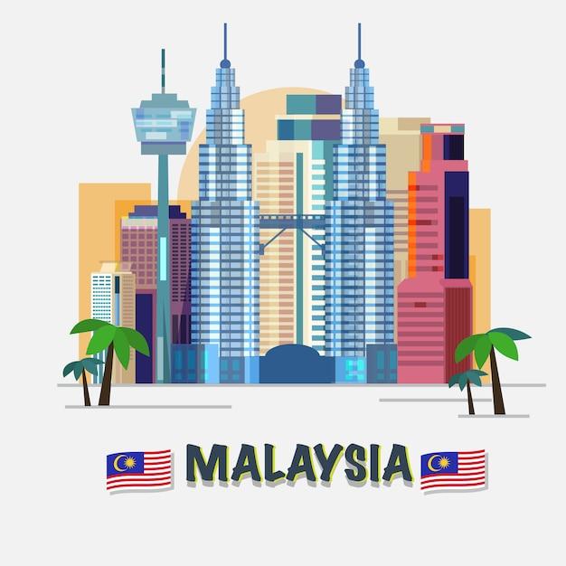 Kuala lumpur, malaisie. Vecteur Premium