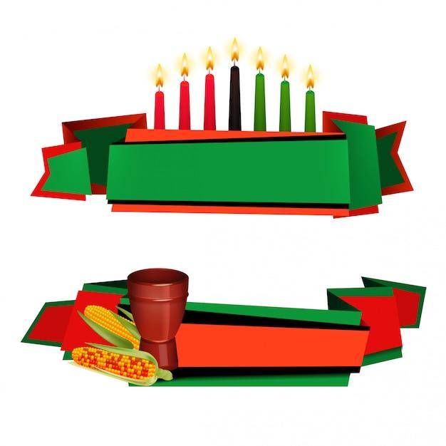 Kwanzaa ribbon set de bannières colorées Vecteur gratuit