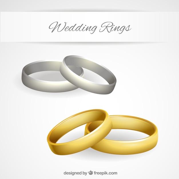 or et largent des anneaux de mariage  Télécharger des Vecteurs ...