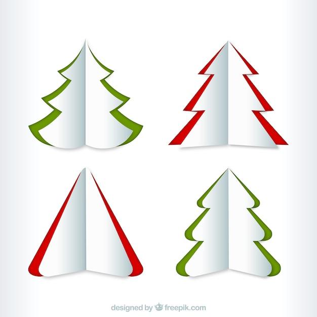 La collecte des arbres de no l dans le style origami t l charger des vecteurs premium - Arbre de noel origami ...