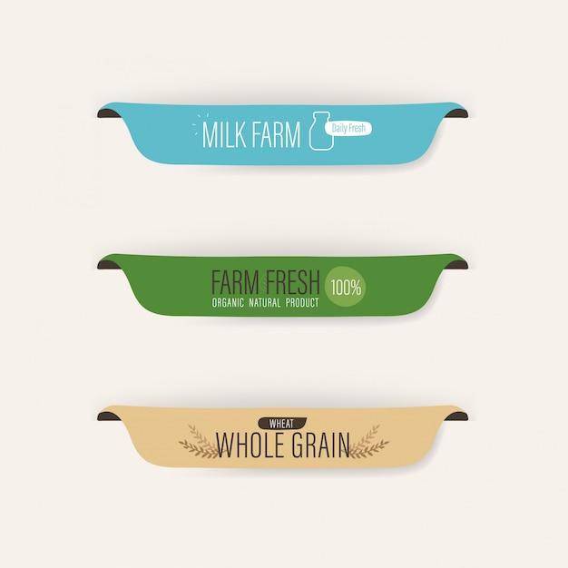 Label naturel et bannière bio fraîche lait et blé. Vecteur Premium