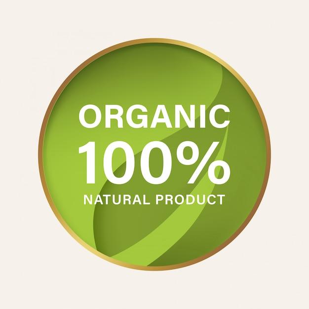 Label naturel et biologique et bannière végétalienne. Vecteur Premium