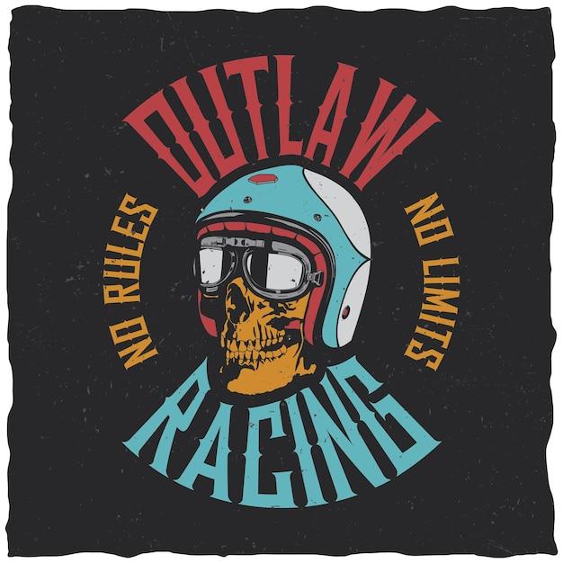 Label Outlaw Racing Vecteur gratuit