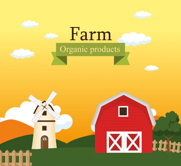 Label de produits bio scène de ferme Vecteur gratuit