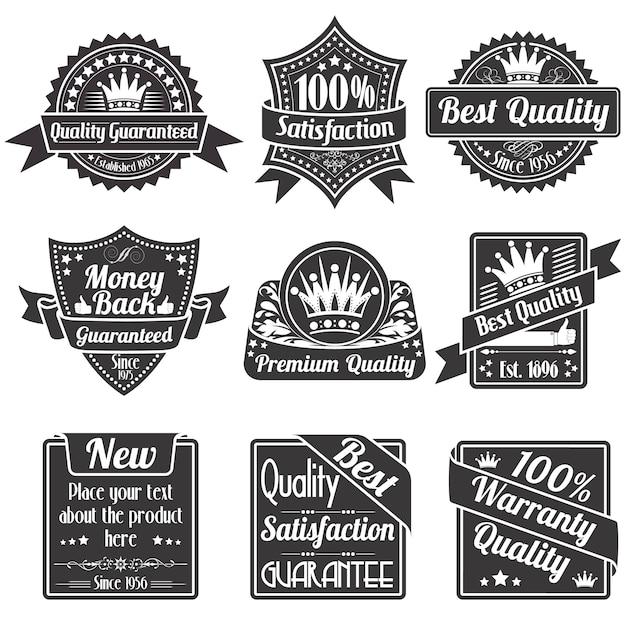 Labels qualité et garantie Vecteur Premium