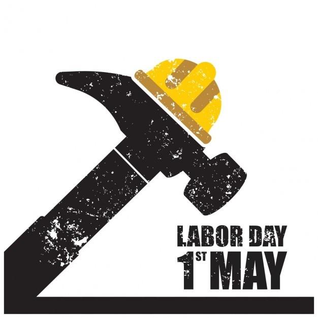Labor day grunge marteau typographie Vecteur gratuit