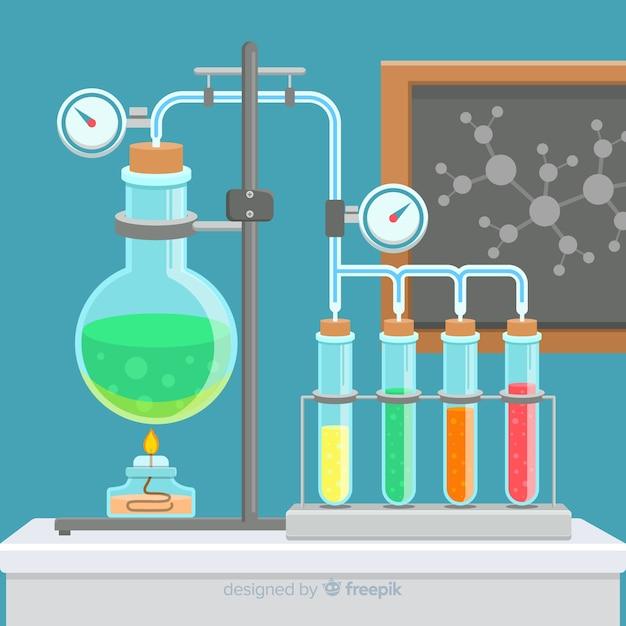 Laboratoire de chimie à plat avec flacons Vecteur gratuit