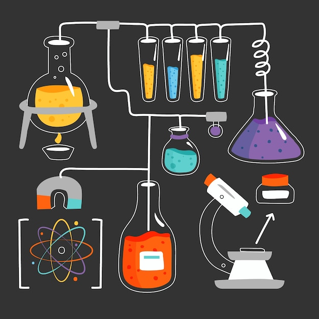 Laboratoire Scientifique Dessiné à La Main Vecteur gratuit