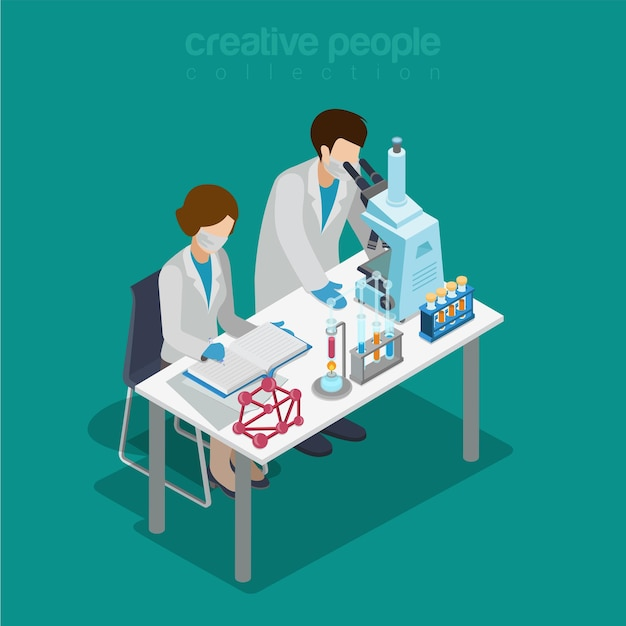 Laboratoire Scientifique Isométrique Plat Expérience Recherche Pharmaceutique Chimique Vecteur Premium