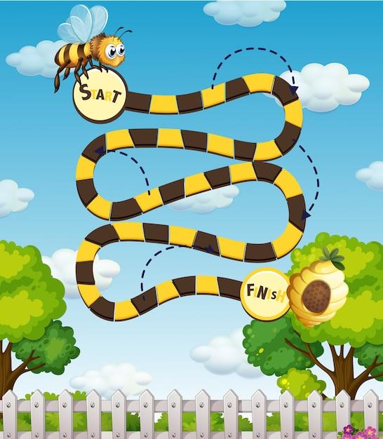 Un Labyrinthe D'abeille Vecteur gratuit