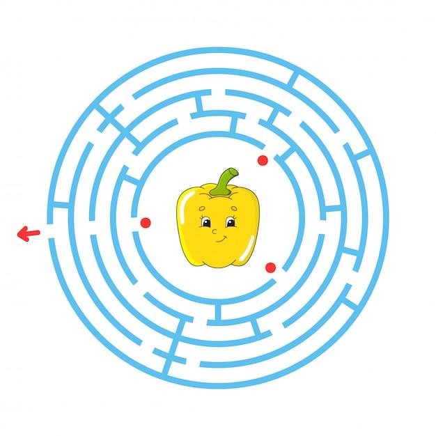 Labyrinthe bleu avec de jolis poivrons jaunes. Vecteur Premium