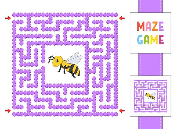 Labyrinthe Carré Drôle. Jeu Pour Les Enfants. Puzzle Pour Enfants. Style De Bande Dessinée. Vecteur Premium