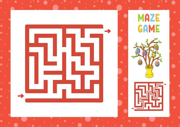 Labyrinthe Carré. Jeu Pour Les Enfants. Puzzle Pour Les Enfants. Caractère Heureux. Vecteur Premium