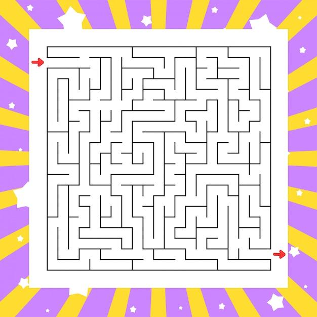 Labyrinthe Carré. Jeu Pour Les Enfants. Puzzle Pour Enfants. énigme Du Labyrinthe. Vecteur Premium