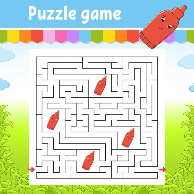 Labyrinthe Carré. Jeu Pour Les Enfants. Puzzle Pour Les Enfants. énigme Du Labyrinthe. Vecteur Premium